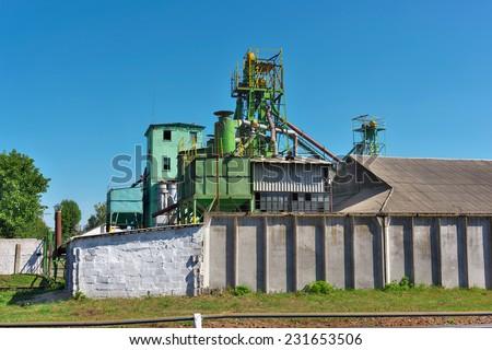 Old grain elevator (storage) - horizontal - stock photo