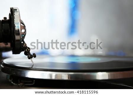 Old gramophone closeup - stock photo