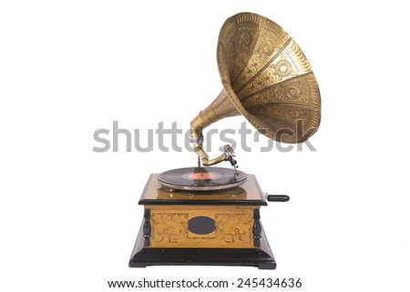Old gramophone isolated on a white background - stock photo