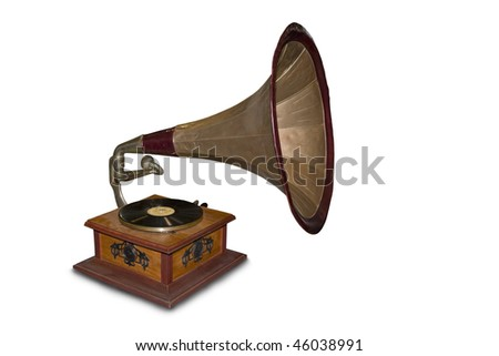Old gramophone. Isolated on a white background