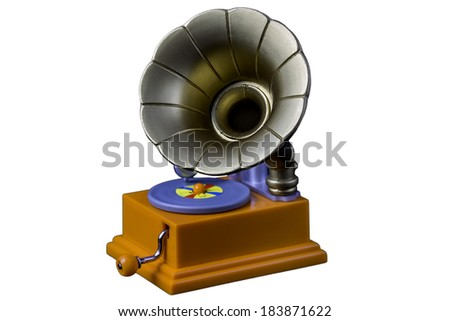 Old gramophone toy isolated on white - stock photo