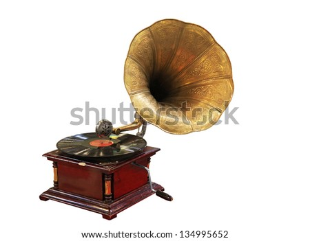 Old Gramophone with Vinyl isolated on white - stock photo