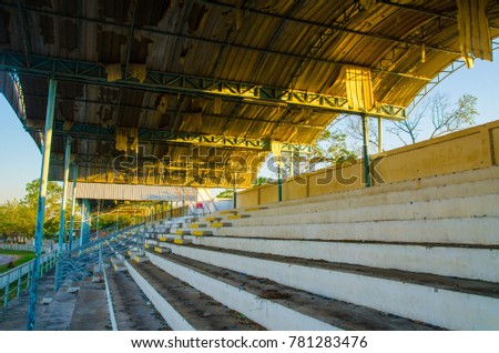 Old grandstand in the stadium.