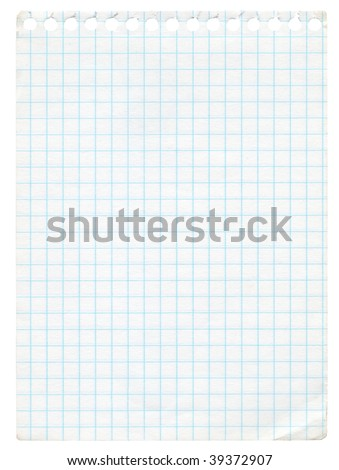 Old graph paper isolated on white. Extra high resolution - stock photo