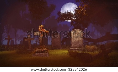 Old gravestones in a spooky cemetery under big full moon. Realistic 3D illustration was done from my own 3D rendering file. - stock photo