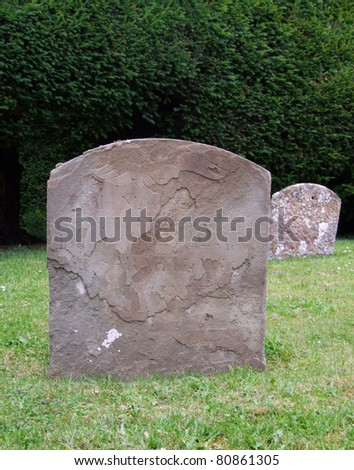 Old Gravestones in Cemetery - stock photo
