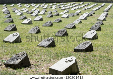 old graveyard in slovenia in memorial to soldiers who died in world war one.