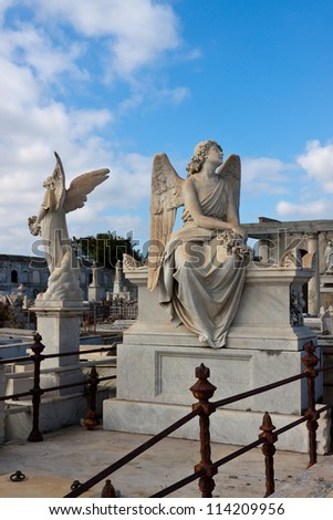 Old graveyard on Cuba. - stock photo