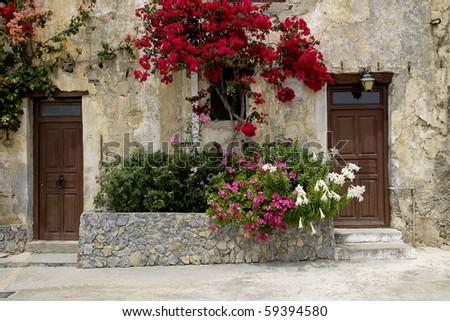 old greek doors - stock photo