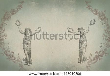 Old greek goddess illustration - stock photo