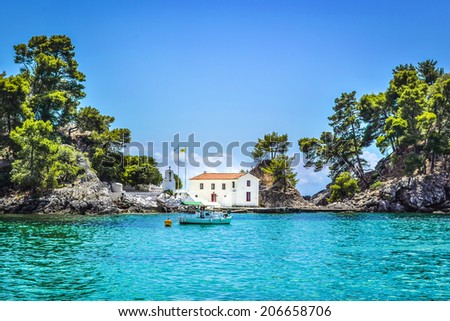 Old Greek orthodox church on island Panagias in Parga, Greece  - stock photo