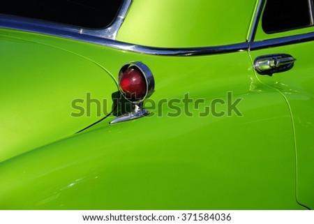 Old green car in cuba  - stock photo