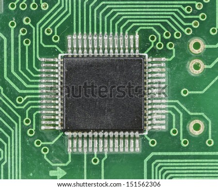 Old green circuit board close up