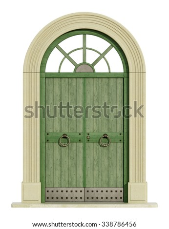 Old green front door with stone portal isolated om white - 3D Rendering - stock photo