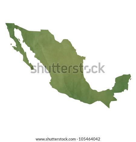 Old green paper map of Mexico isolated on white background - stock photo