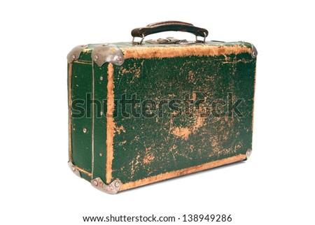 Old green shabby suitcase on white background - stock photo
