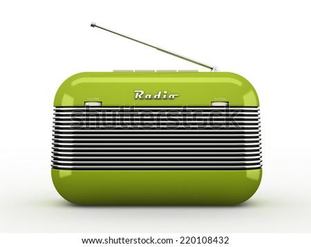 Old green vintage retro style radio receiver isolated on white background - stock photo