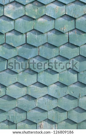 Old green wooden texture in the form of tiles, consisting of a set of hexagonal plates