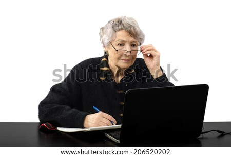 Old grey haired internet teacher carefully listening to the student