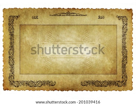 old grunge  antiquarian paper background with vintage victorian style  - stock photo