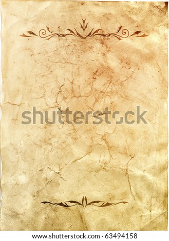 Old grunge antique paper texture with decorative dividers
