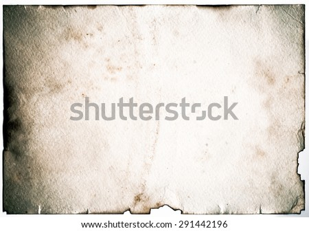 Old grunge antique paper with spots and stains horizontal background - stock photo