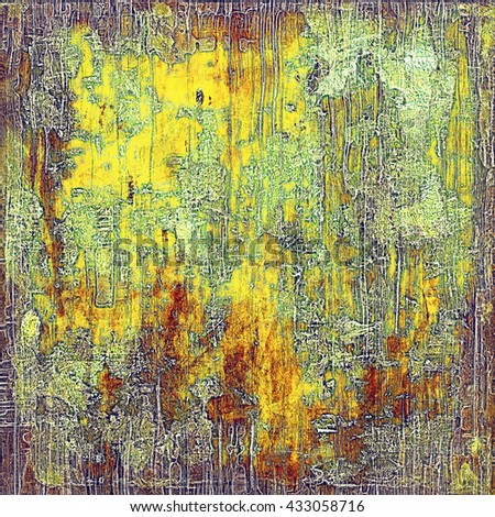 Old grunge background or aged shabby texture with different color patterns: yellow (beige); brown; green; red (orange); gray; purple (violet)
