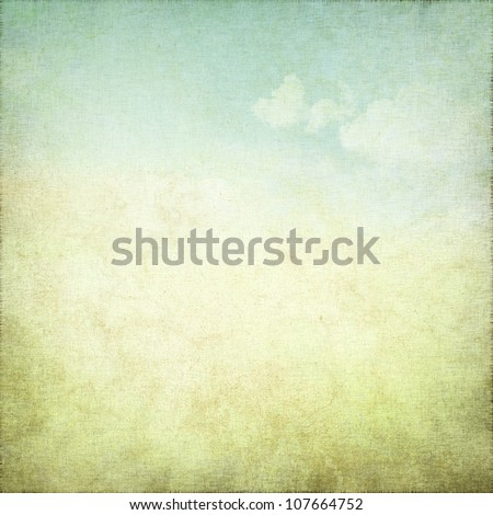 old grunge background with delicate abstract canvas texture and blue sky view - stock photo