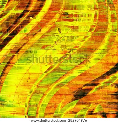 Old grunge background with delicate abstract texture and different color patterns: yellow (beige); brown; green; red (orange) - stock photo