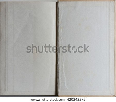 Old grunge book opened to the last page showing aged textured paper inside. - stock photo