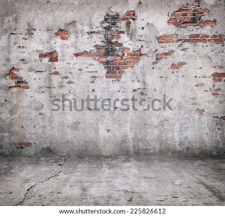 Old grunge brick wall interior - stock photo