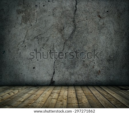 old grunge concrete room with wooden floor background - stock photo