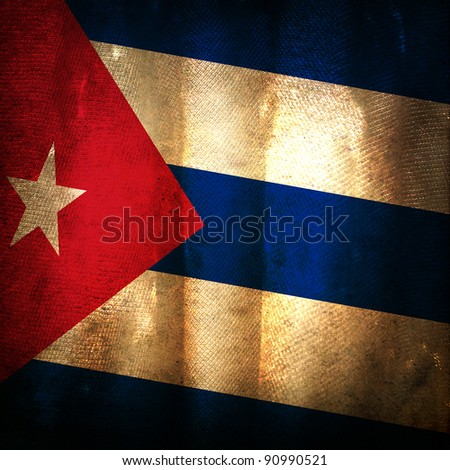 Old grunge flag of Cuba - stock photo