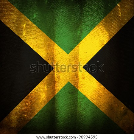 Old grunge flag of Jamaica - stock photo