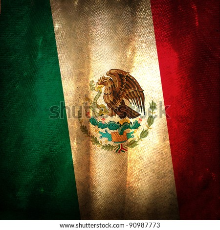 Old grunge flag of Mexico - stock photo