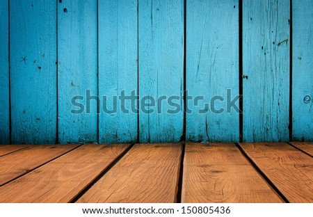 old grunge interior, blue and yellow wooden background - stock photo