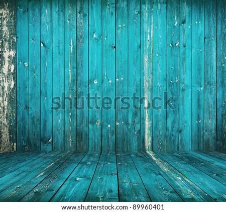old grunge interior, blue wooden background - stock photo