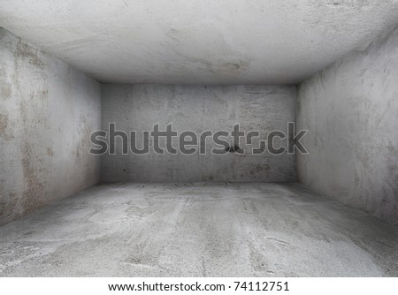old grunge interior with dirty walls - stock photo