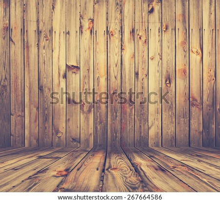 old grunge interior, wooden background, retro filtered, instagram style - stock photo
