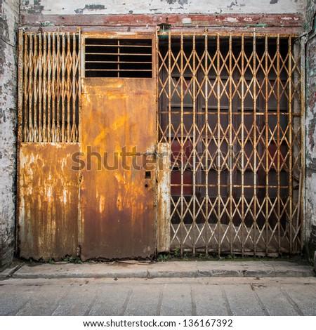 Old Grunge Iron Gate - stock photo