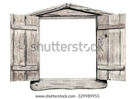 Old Grunge Light Wooden Window Frame Stock Photo (Royalty Free ...