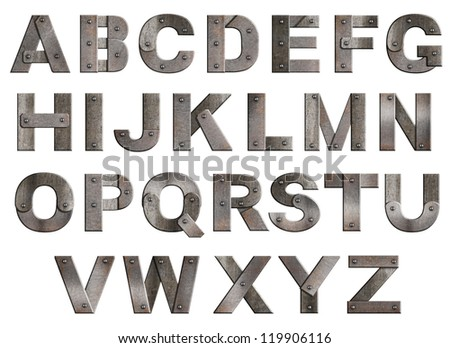 Old grunge metal alphabet letters isolated on white. - stock photo