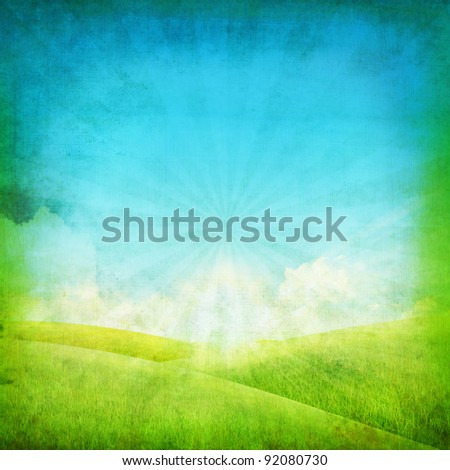 old grunge paper ,nature painting - stock photo