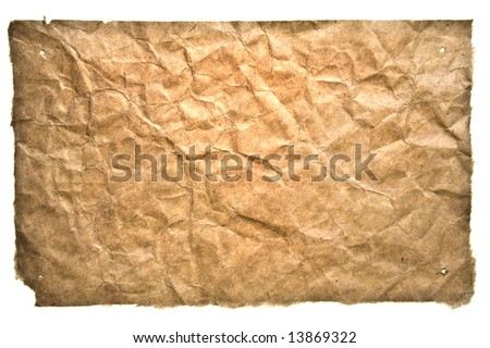 Old Grunge Paper On White Background. Ready For Your message. - stock photo