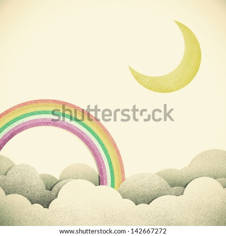 Old Grunge paper texture moon and rainbow on vintage tone  background - stock photo