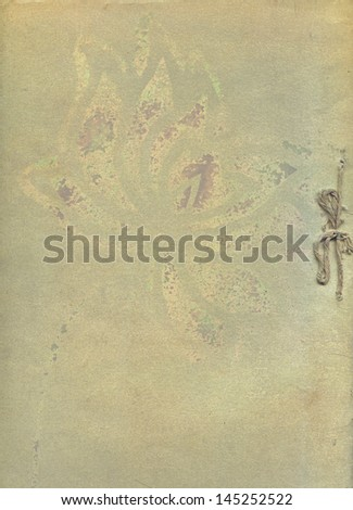 old grunge paper with floral - stock photo