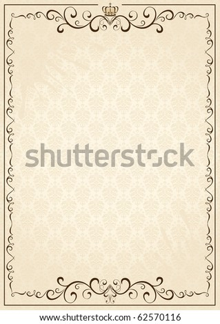 Old grunge paper with floral elements, illustration - stock photo