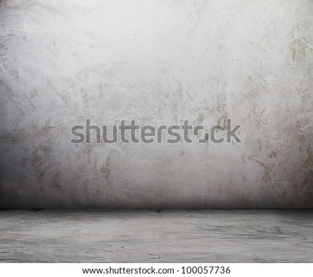 old grunge room, dirty wall - stock photo