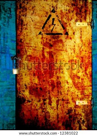 Old grunge rusty door, prohibited area - stock photo