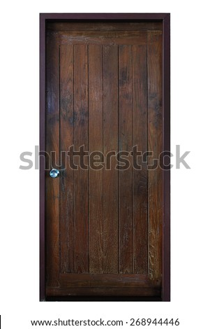 Old grunge wood simple door isolated on white background. - stock photo
